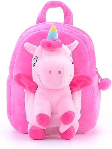 Toddler Backpack Girls PreSchool Kindergarten Plush Toy Removable Stuffed Animal