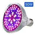 LED Grow Light Bulb,Lovebay 50W Full Spectrum Grow lamp for indoor plants, Plant Light for Indoor Garden Greenhouse and Hydroponic Plants Organic Soil (E27 78leds)