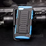 iPhone SE / 5S / 5 Case, Cocomii Robot Armor NEW [Heavy Duty] Premium Belt Clip Holster Kickstand Shockproof Hard Bumper Shell [Military Defender] Full Body Dual Layer Rugged Cover Apple (Blue)