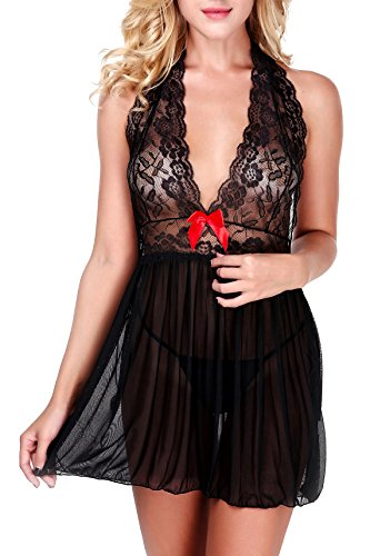 Ruzishun Women Deep V-Neck Babydoll Halter Transparent Lace Sexy Lingerie Sleepwear (XL, Black)