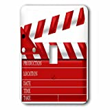 3dRose lsp_222696_1 Movie Clap Board Illustration in Red Single Toggle Switch, White