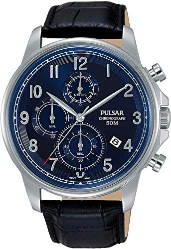 PULSAR MEN'S 43MM BLACK LEATHER BAND STEEL CASE QUARTZ BLUE DIAL WATCH PM3073 (Watch Band Leather Pulsar)