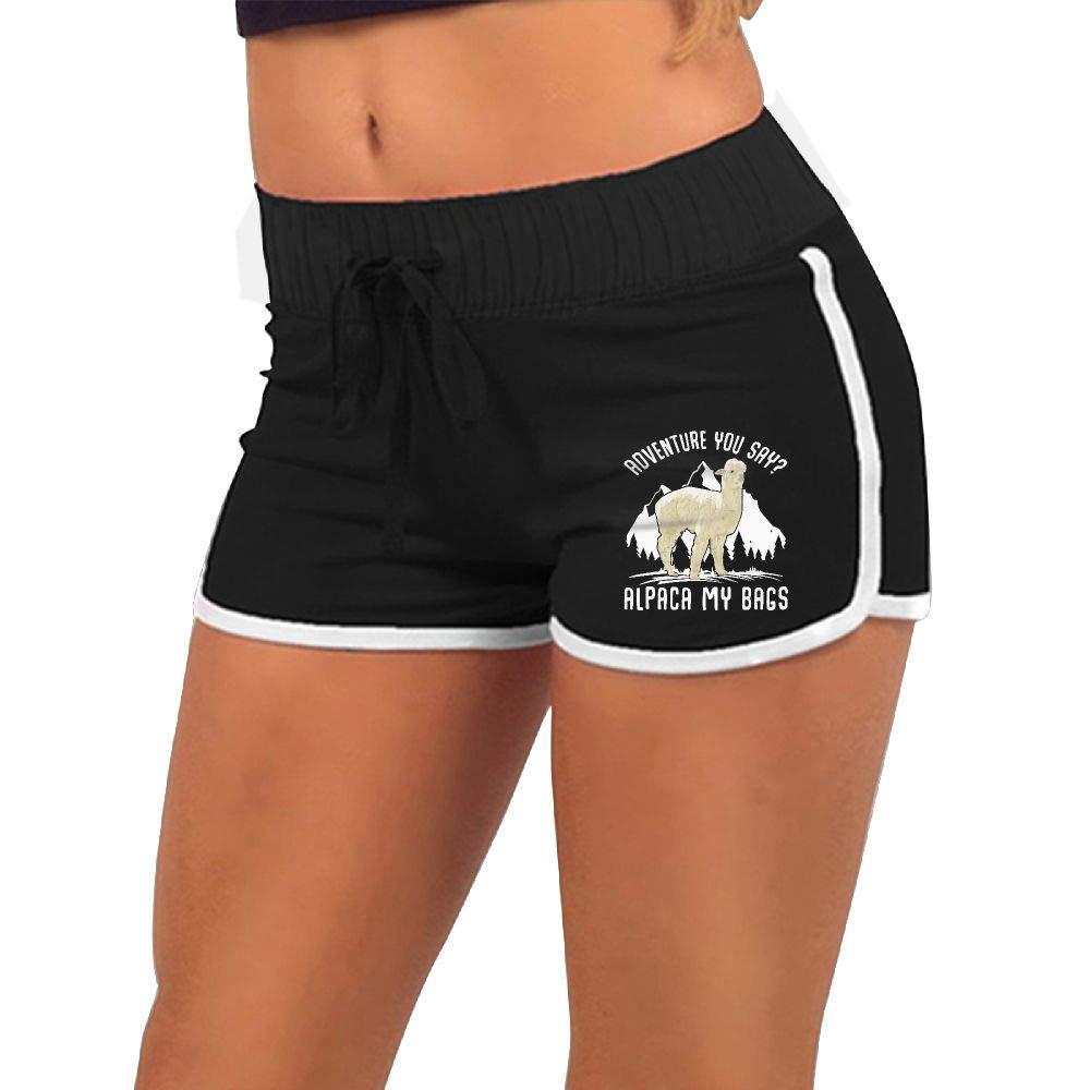 Women's Sexy Hot Pants Adventure Alpaca My Bags Torso Silhouette Gym Workout Raves Hot Pants