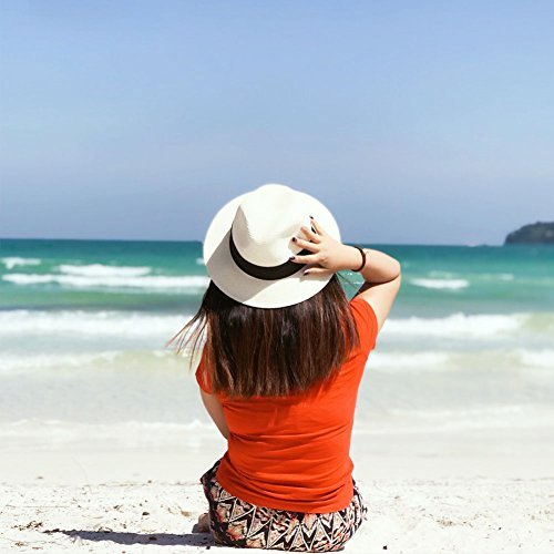 Panama Straw Hat,Womens Sun Hat Wide Brim Floppy Foldable Fedora Summer Beach Caps
