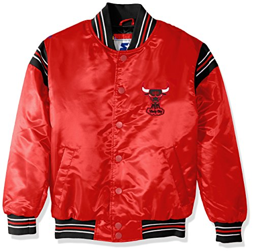 STARTER NBA Chicago Bulls Youth Boys The Enforcer Retro Satin Jacket, Large, Red