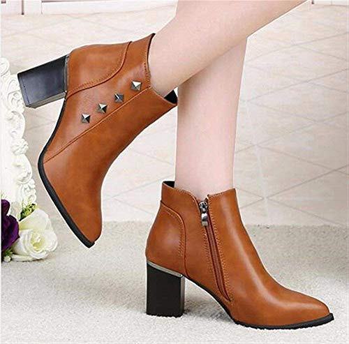 Da 's Heels Autumn Sed Scarpe Winter Women Rivets High And Boots Short Lavoro Eu Shoes 38 U5xAxzwq