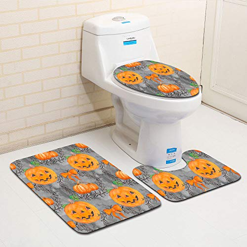 Clearance Sale!DEESEE(TM)Halloween Ghost Spider Toilet Seat Cover and Rug Bathroom Set Halloween Decor (A) -