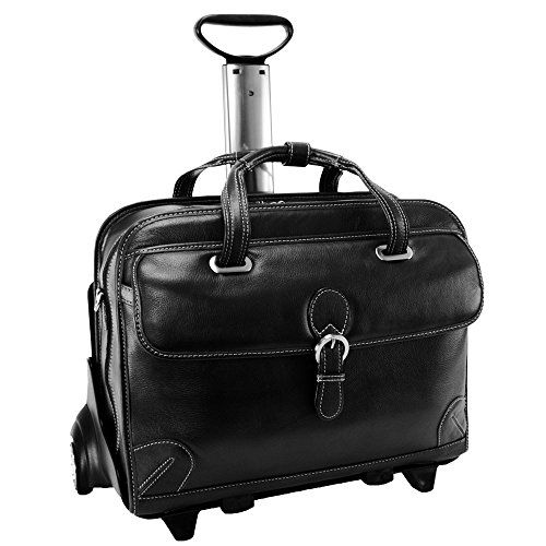 Siamod Carugetto Leather Detachable-Wheeled Briefcase Laptop Case in Black