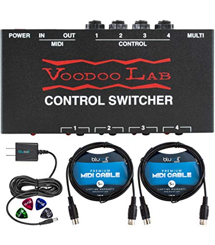 Voodoo Lab Control Switcher - MIDI Amp Bundle with Blucoil Power Supply Slim AC/DC Adapter for 9 Volt DC 670mA, 2-Pack of 5-Ft MIDI Cables (Black) and 4-Pack of Celluloid Guitar Picks