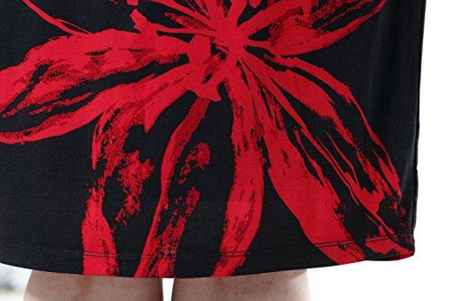 Ginocchio Forti da del Lunghezza Donna Rosso Taglie Vestito Stampato Lavoro e Chicwe Floreale Nero Vestito Maniche Casual Senza Foderato pPHxwxE1
