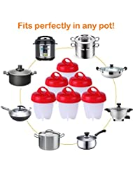 Time Collect Egg Cooker Hard & Soft Boiled Maker, Nonstick Silicone Eggs Boiler Cookers without Egg Shell (Set 6 Packs)