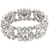 EVER FAITH Silver-Tone Round Austrian Crystal Vintage Style Bridal Elastic Stretch Bracelet Clear