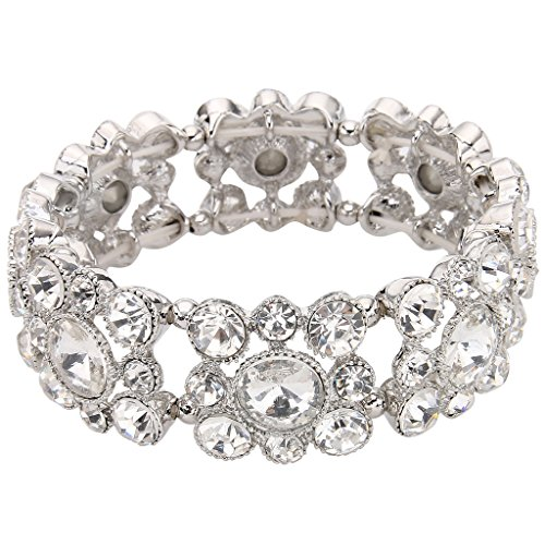 EVER FAITH Round Austrian Crystal Vintage Style Elastic Stretch Bracelet
