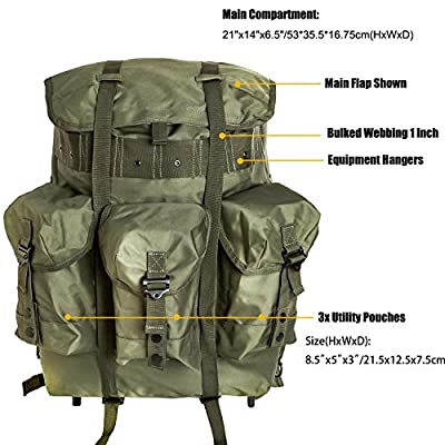 Military Surplus Medium Rucksack Alice Pack,Army Survival Combat Field Backpack with Frame Accessories 10PCS Olive Drab