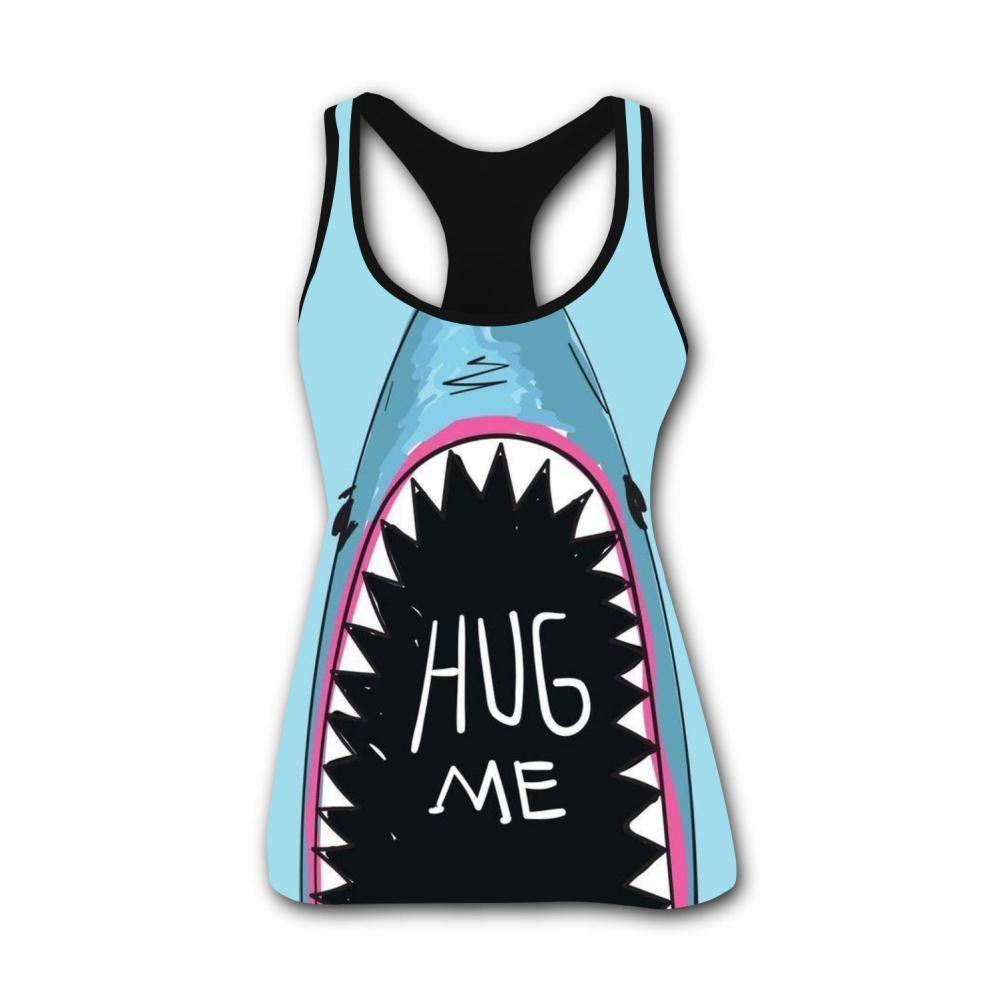 Shark Mouth Hug Me 3D Print Casual Custom Sleeveless Tanks Vest Shirt Women Girl L