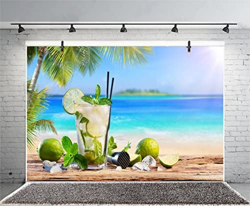 Tropical Beach Summer Holiday Backdrop 10x6.5ft Polyester Photography Backgroud Grunge Wooden Board Green Lemon Mint Drink Palm Tree Sunshine Seascape Coast Party Children Adult