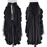 Skirt Information Fabric: 55% Polyester + 45% Polyamide Color: Black Closure: Lace-Up Features: 1)Lace-Up waist with no zipper 2)Asymmetric design, middle is longer than sides 3)Hips and edge are decorated with ruffles Package Contents: 1*Open Skirt ...