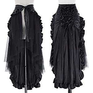 Belle Poque Women's Steampunk Gothic Wrap Skirt Victorian Ruffles Pirate Skirt
