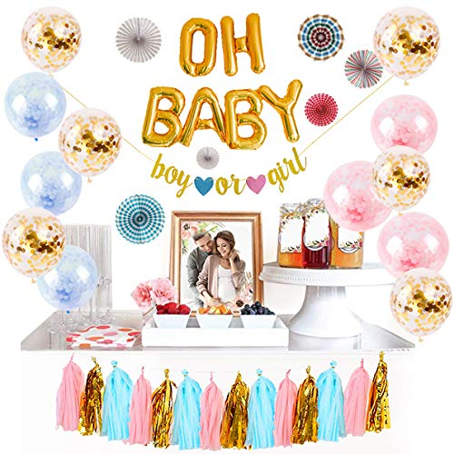 Fall Gender Reveal Ideas (Logui Baby Gender Reveal Party Supplies Set | Gender Reveal Decorations W/ Foil Gold Oh Baby Balloon, Latex Balloons, Paper Fans, Blue, Pink, Gold Tassel and Banner. Gender Neutral Baby)