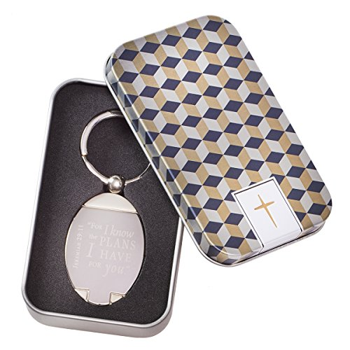 """Our Jeremiah 29:11 Keyring comes to you gift-ready - nicely seated in its own cross embossed tin gift box. The satin finsh 2"""" medallion has a gleaming, mirror finish inset etched with Scripture. The piece has a substantial feel and is attache..."""