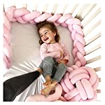 Soft-Knot-Pillow-Decorative-Baby-Bedding-Sheets-Braided-Crib-Bumper-Knot-Pillow-Cushion-Pure-Color-Pink-787-inch