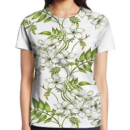 Romantic Garden Shirt (WuLion Vector Jasmine Floral Design with Leaf Spring Time Romantic Fresh Garden Women's 3D Print T Shirt L White)