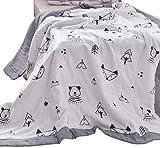 J-pinno Trees Fox Bear Cute Muslin Quilt Blanket Twin Bedding Coverlet, 100% Cotton, Comforter Bedspread Throw Blanket for Kid's Boys Girls Bedroom Decoration Gift (1, Twin 59'' X 78'')