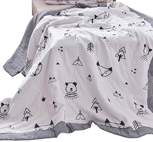 - J-pinno Trees Fox Bear Cute Muslin Quilt Blanket Crib Bedding Coverlet, 100% Cotton, Comforter Bedspread Throw Blanket for Baby Kids Bedroom Decoration Gift (1, Toddler 47