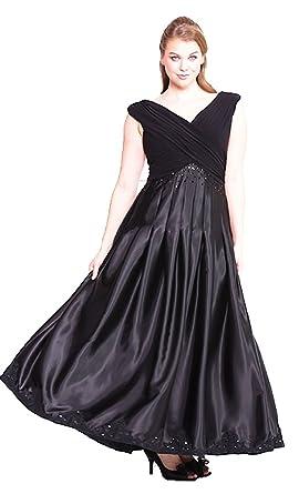 f7b8494b50d4 Abendkleid elegant für Festliche Anlässe lang Luxus Ballkleid Brautmutter- Kleid Damen XXL große Größen schwarz