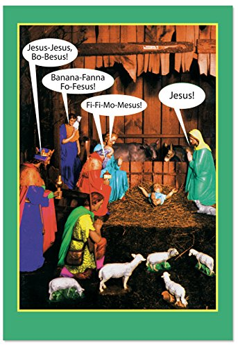 Nativity Christmas Card Scene (12 Boxed 'Jesus-bo-Besus' Blank Christmas Cards with Envelopes (4.75 x 6.625 Inch), Funny Name Game Holiday Notes, Religious Humor, Nativity Scene Christmas Cards, Jesus and Virgin Mary Cards B1348K)