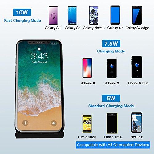 LATOW Wireless Charger, 7.5W Qi Wireless Charger Compatible for iPhone X/8/8 Plus, 10W Fast Wireless Charger Compatible for Galaxy S9/S9+/S8/Note 8/S7/S7 Edge, 5W for QI-Enabled Devices (No Adapter) by LATOW (Image #1)