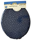 Luxury Home Fashion Round Standard Shells Design Wood Toilet Seat Closed Front Lid, Hinges, Post Nuts, and Hardware included (Navy Blue)