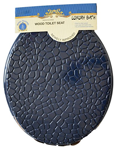 Luxury Home Fashion Round Standard Shells Design Wood Toilet Seat Closed Front Lid, Hinges, Post Nuts, and Hardware included (Navy Blue) by Luxury Home Fashion