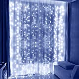 LED String Lights Curtain Lights - Speclux 300LEDS 8 Modes Indoor Outdoor Window Curtains String Lights,Cold White Garden Lights for Wedding,Valentine's Day, Christmas, Party, Bedroom&Garde