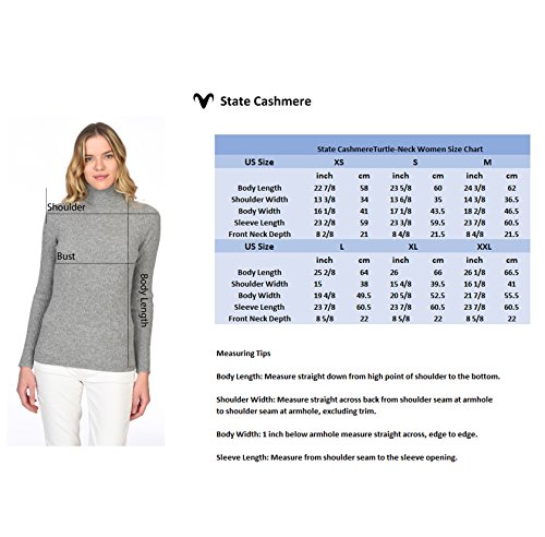 State Cashmere Women's 100% Pure Cashmere Long Sleeve Pullover Ribbed Turtleneck Sweater Heather Grey XL by State Cashmere (Image #6)