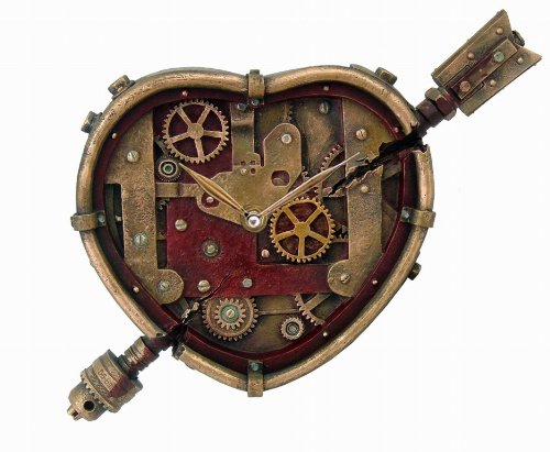 Pacific Trading Steampunk Wall Clock Heart Pierced Cupid Gearwork Painted Resin [Toy] 3