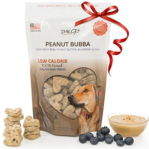 IMK9 Natural Training Treats Low Calorie - Limited Ingredients Made in USA - Peanut Butter, Organic, Healthy, Balanced, Diet Treat Bag for Dogs, Small Puppy, Big Pets - GMO, Grain, Gluten Free