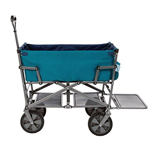 mac-sports-dd-100-collapsible-double-decker-outdoor-utility-wagon-with-extended-lower-shelf-teal