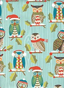 Holiday Owls Rolled Christmas Gift Wrap Paper