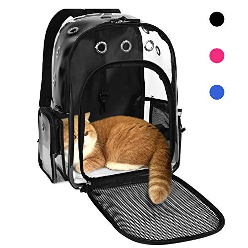 YUDODO Pet Clear Cat Backpack Carrier Breathable Foldable Pet Rucksack Carrier for Puppy Dog Cat Lightweight Cat Backpack for Outdoor Walking (Large Black)