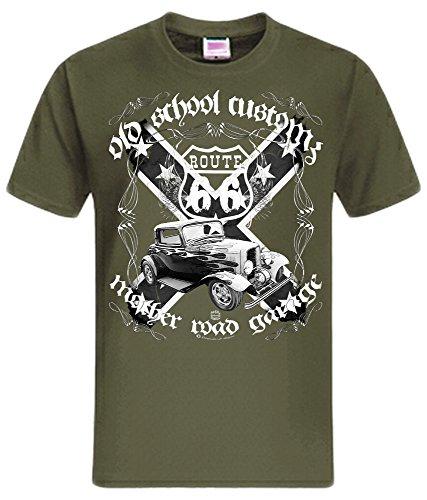 40s Street Rod Hot Rod US Oldtimer Rockabilly Route 66 Street Shirt (M, White Street Rod oliv)