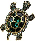 YACQ Women's Crystal Big Turtle Pin Brooch Pendant Halloween Costume Jewelry Accessories Larger Image