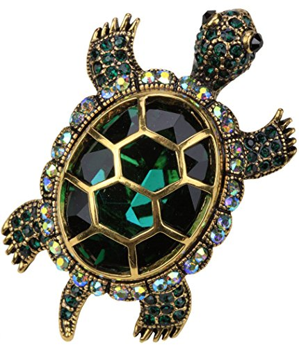 YACQ Women's Crystal Big Turtle Pin Brooch Pendant Halloween Costume Jewelry -