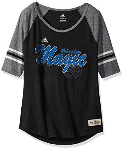 NBA Girls 7-16 Orlando Magic Hi-Lo Raglan Tee-Black-XL(16)