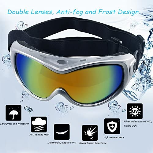 Skiing and Anti-Fog HelloPet Dog Goggles Dog Sunglasses Glasses for Dogs Dog Ski Goggles with UV Protection Pet Sunglasses with Adjustable Strap for Travel