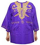 Decoraapparel African shirt for men Dashiki Slim fit shirt Plus size long brocade dress (Purple)