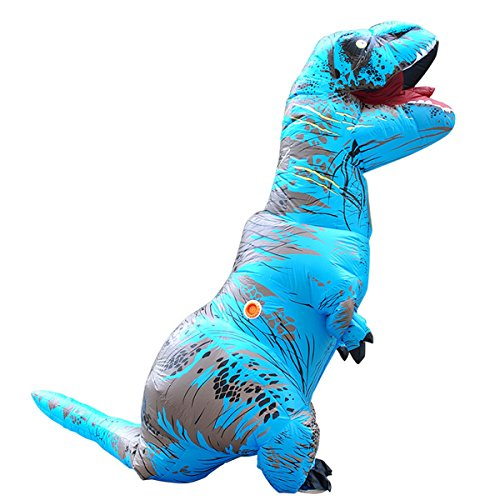 Tricandide Inflatable Dinosaur T-REX Adult Halloween Costume Cosplay Blow Up Costume Blue