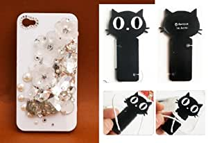 Crystal Pearl 3D Flower Stone DIY Handmade Coque Case for Iphone 4 or 4S (Package Included Cord Wrap)