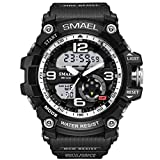 Mens Large Dual Dial Analog Digital Watch Casual Sport Watch Multifunction Military Watch with LED Light (Silver)