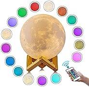 Luminária Lua Cheia 3d Abajur touch 18cm 16 Cor Controle Bat